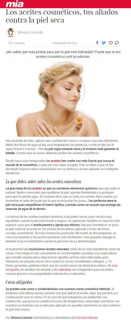 Los aceites cosméticos tus aliados contra la piel seca by Monica Lizondo - Farmaconfianza